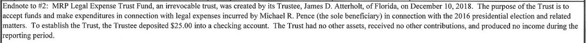 BREAKING: Mike Pence has disclosed he now has a legal expense fund in connection to the 2016 election