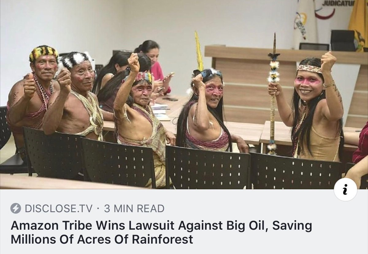 in one good piece of news: the Waorani people of Ecuador won a lawsuit to protect half a million acres of their ancestral territory in the Amazon rainforest from huge oil corporations. this is beautiful! <br>http://pic.twitter.com/N2ZI0FJ4jh