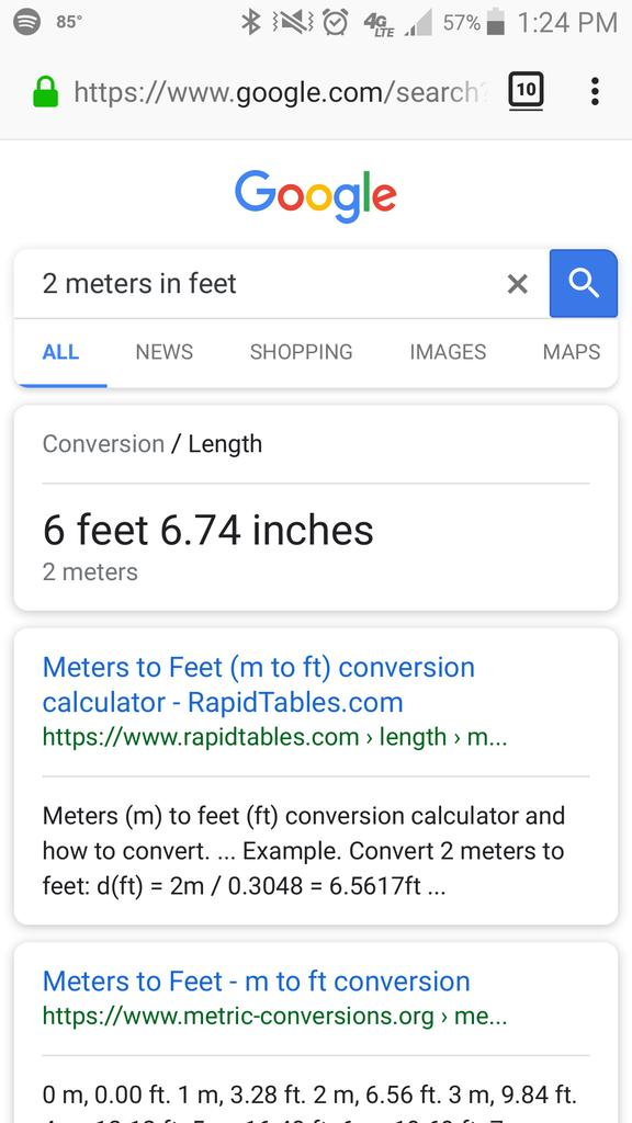 74 inches in feet