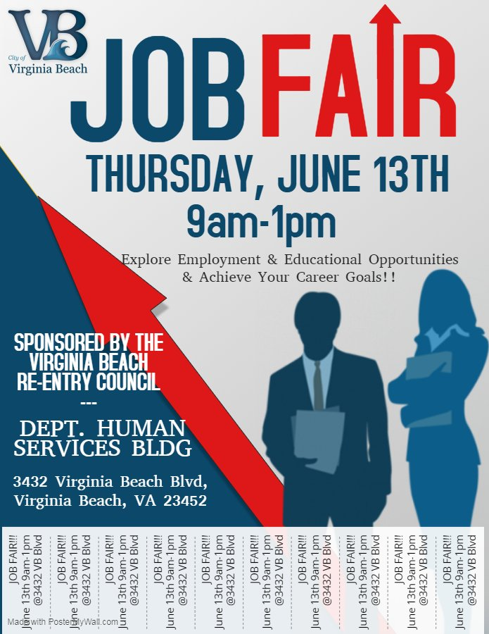 The City of Virginia Beach is hosting a Job Fair on Thursday, June 13th from 9AM - 1PM! Check out the flyer below to explore employment and educational opportunities and take steps toward achieving your career goals!