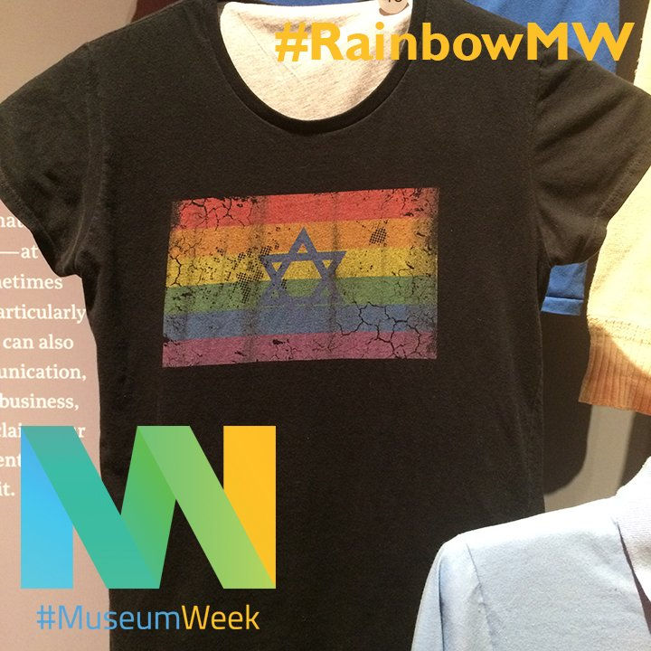 "Also on view in #FashionStatement is this Star-of-David/Rainbow t-shirt. Its owner wore it for the first time on National Coming Out Day to ""express her identity as a queer Orthodox Jew."" #RainbowMW #MuseumWeek<br>http://pic.twitter.com/3ocMcbsLDA"