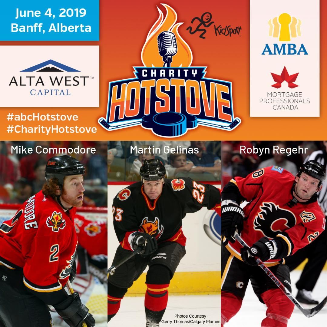 Spend an afternoon in the mountains with great food and unfiltered conversation, all in the name of KidSport. Join @EricFrancis, former #Flames Robyn Regehr and @commie22, and coach Martin Gelinas at the Banff Springs June 4. Tickets at http://amba.ca/hotstove. #CharityHotstove