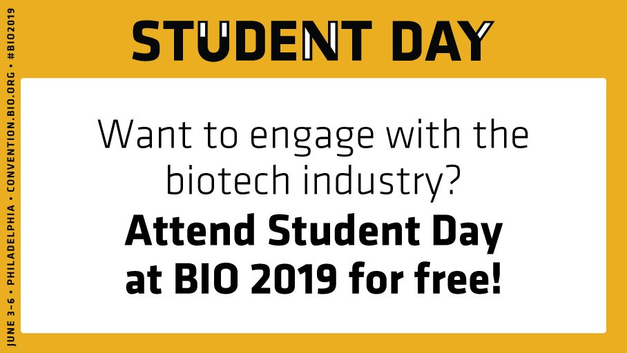 Have you heard? #BIO2019 will host Student Day on Wednesday, June 5! Join 17,000+ innovators and icons! Apply here: https://soo.nr/kCJI