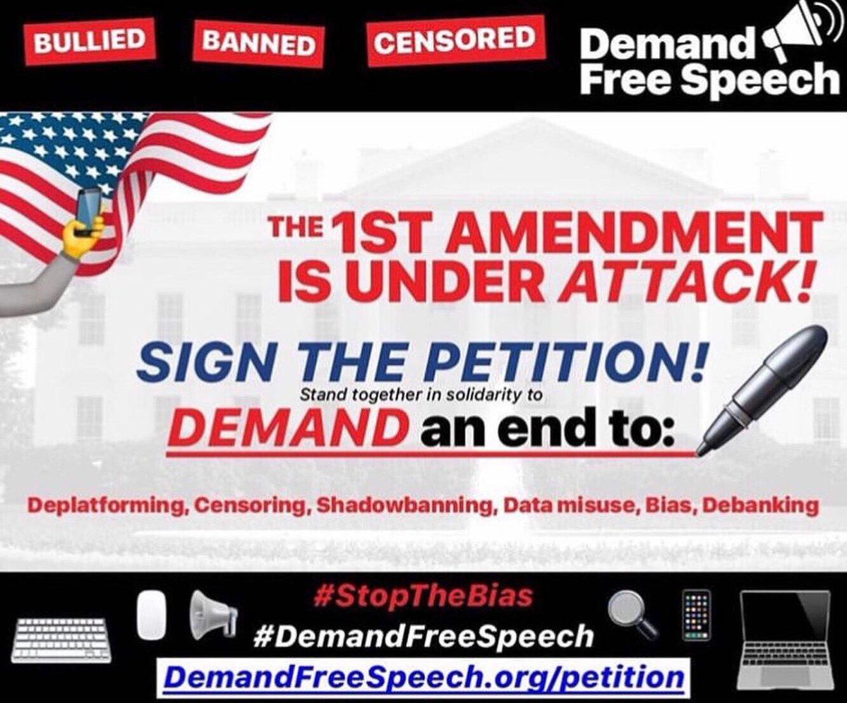 Please sign this petition if you want to fight against bias in social media. No matter what your political affiliation is, Big Tech should not control your speech. http://demandfreespeech.org/  #DemandFreeSpeech