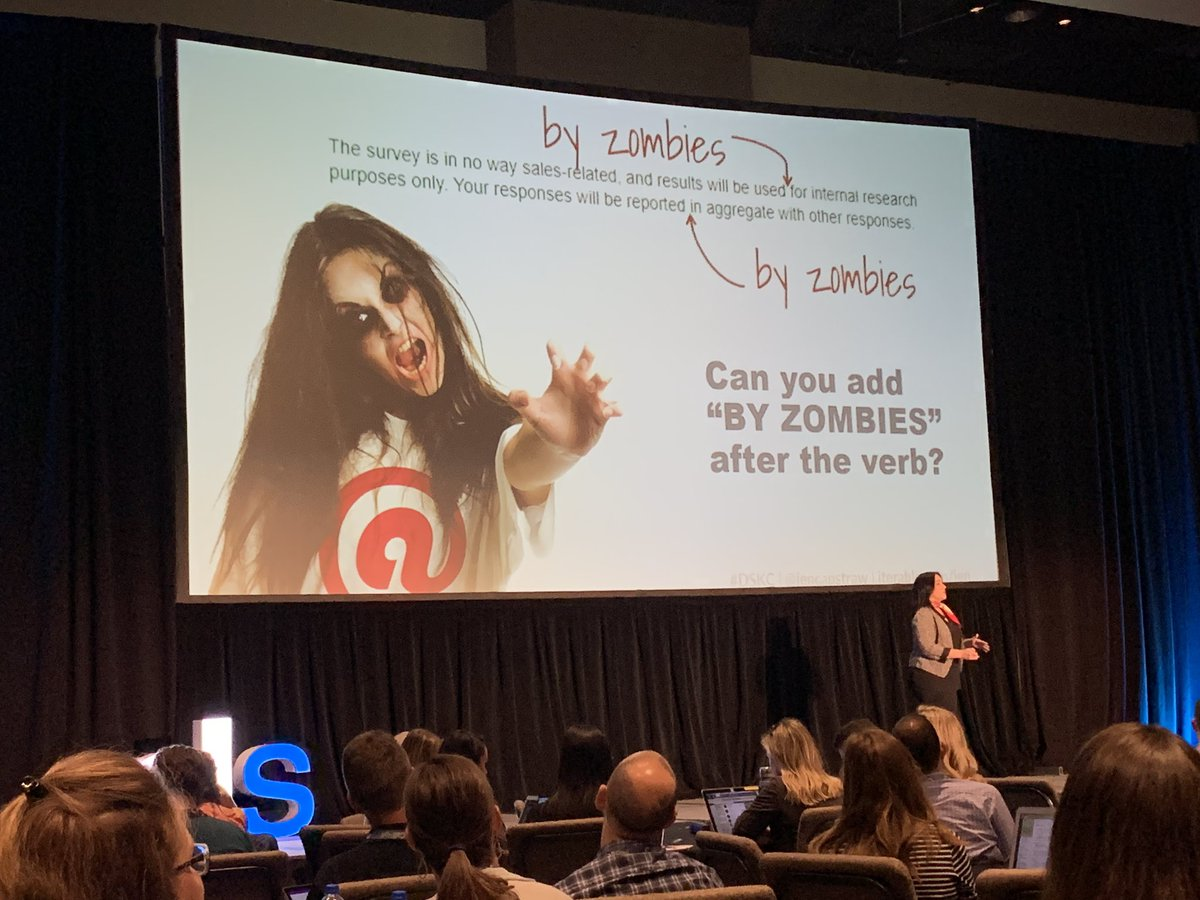 """How to tell if you are using active voice. If you can add """"by zombies"""" to the copy, then you fail this test. #EmailGeeks @jencapstraw #DSKC <br>http://pic.twitter.com/7JiIsQUYBl"""