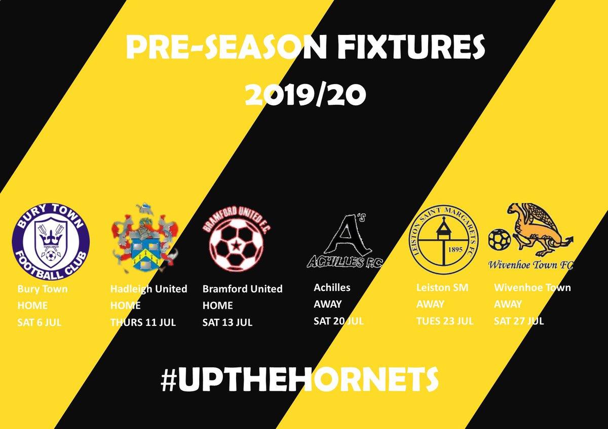 The Hornets pre season schedule includes @BuryTownFC @OfficialHUFC @BramfordUtdFC @Achillesfootba1 @LSMFC @wivenhoetown_fc