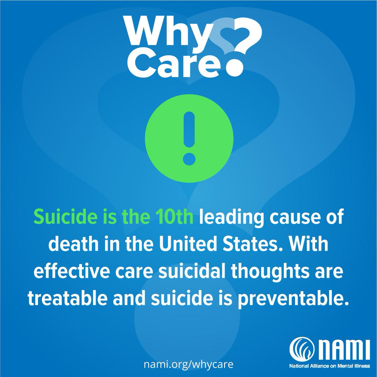 We cannot let people struggle in silence. We need to recognize the warning signs when someone is struggling and make sure the get the help they need. Show you care by making a donation to NAMI: https://t.co/N36DOVMidj #WhyCare #NAMICares https://t.co/0AcD5xZ0Hg