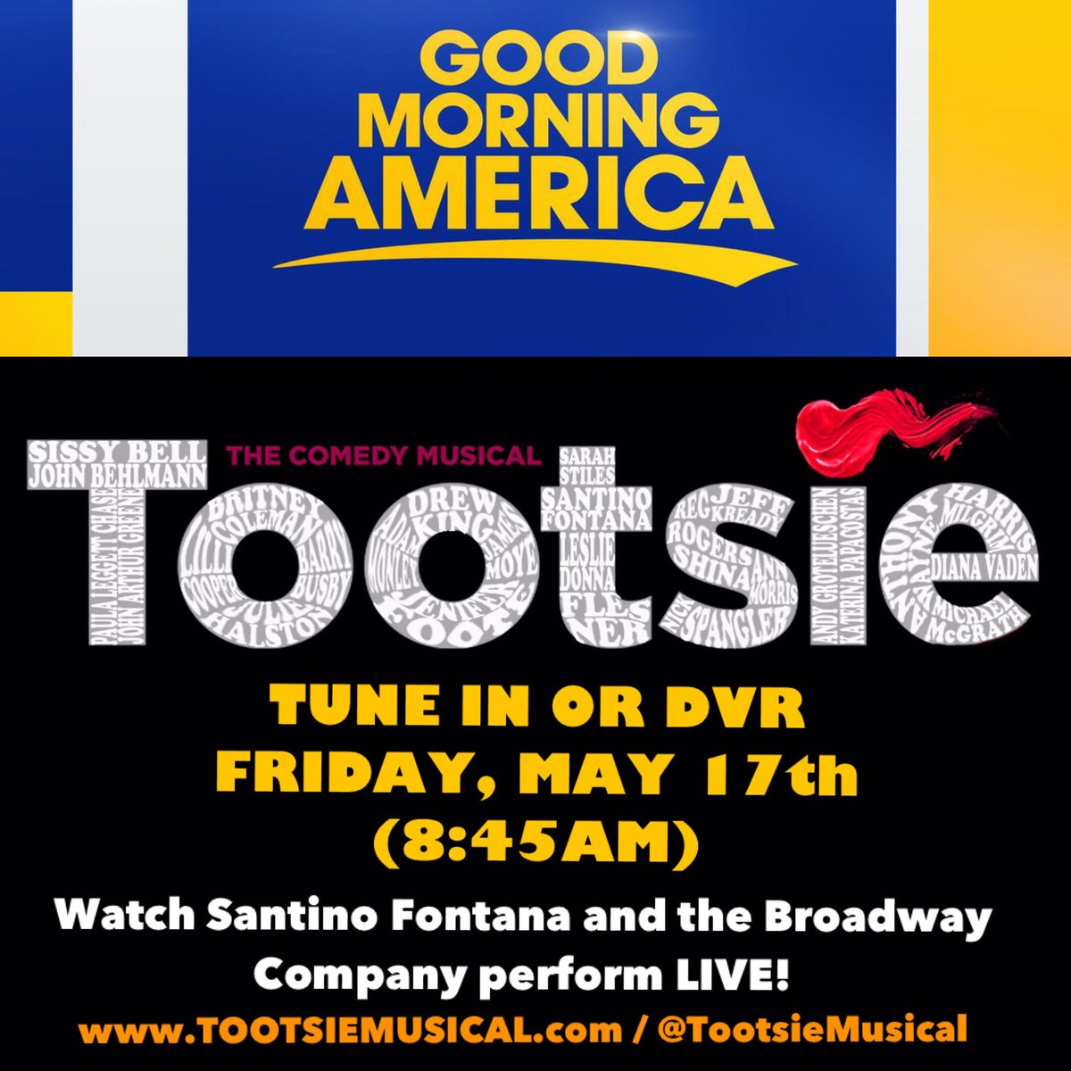 Tune in tomorrow for some @TootsieMusical magic!