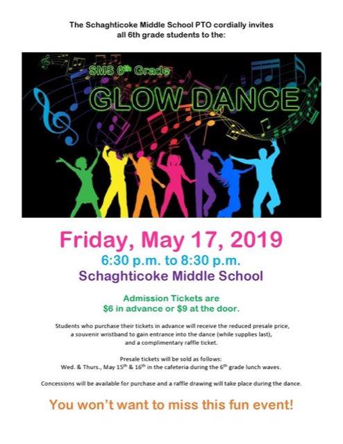 6th grade Glow Dance is tomorrow night! @SMS_CT