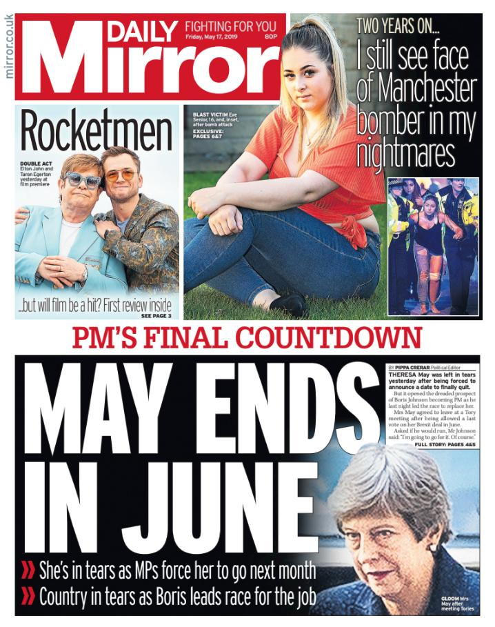 Tomorrow's front page: May ends in June #tomorrowspaperstoday https://www.mirror.co.uk/news/politics/theresa-tears-tory-mps-force-16157947…