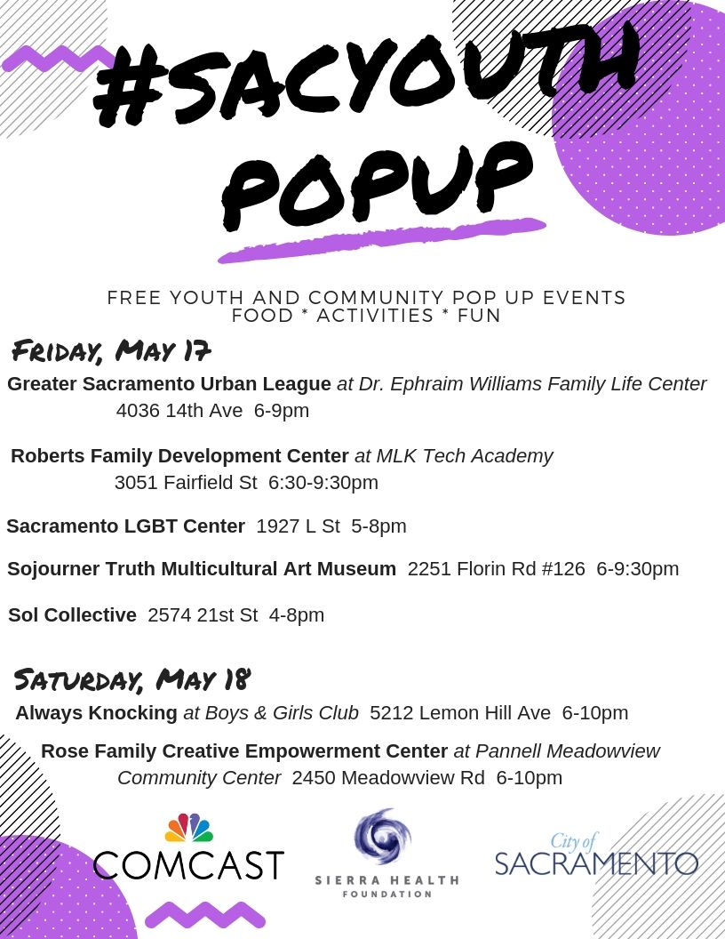Attention #Sacramento!: Don't miss this weekend's #sacyouthpopup events - this Friday and Saturday across the city. @RAACD_Sac @gsul1968 @_RFDC @SacLGBTCenter @sojomuseum @solcollective_ @rfcecenter @TheCityofSac @comcast