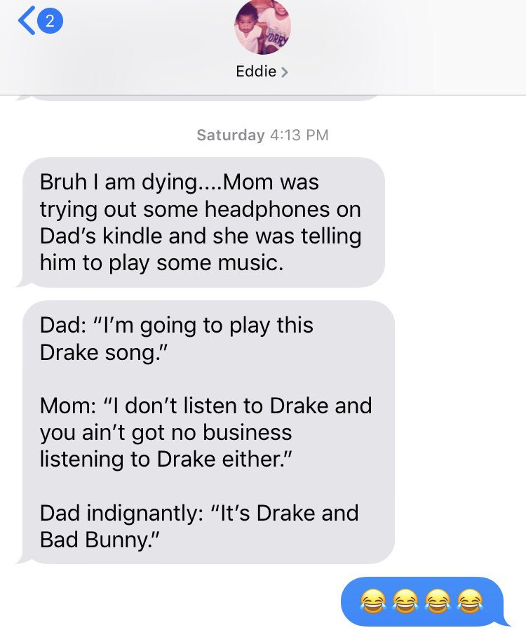 I received the best text ever from my brother, @evalentin25, this weekend about @Drake and Bad Bunny.   This is what happens when your dad is Puerto Rican and trying to live his best life.  <br>http://pic.twitter.com/9CZ1LA0pqP