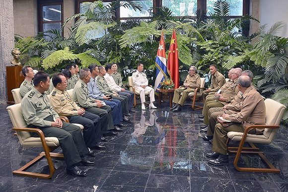 Raul exchanged with China's military delegation.