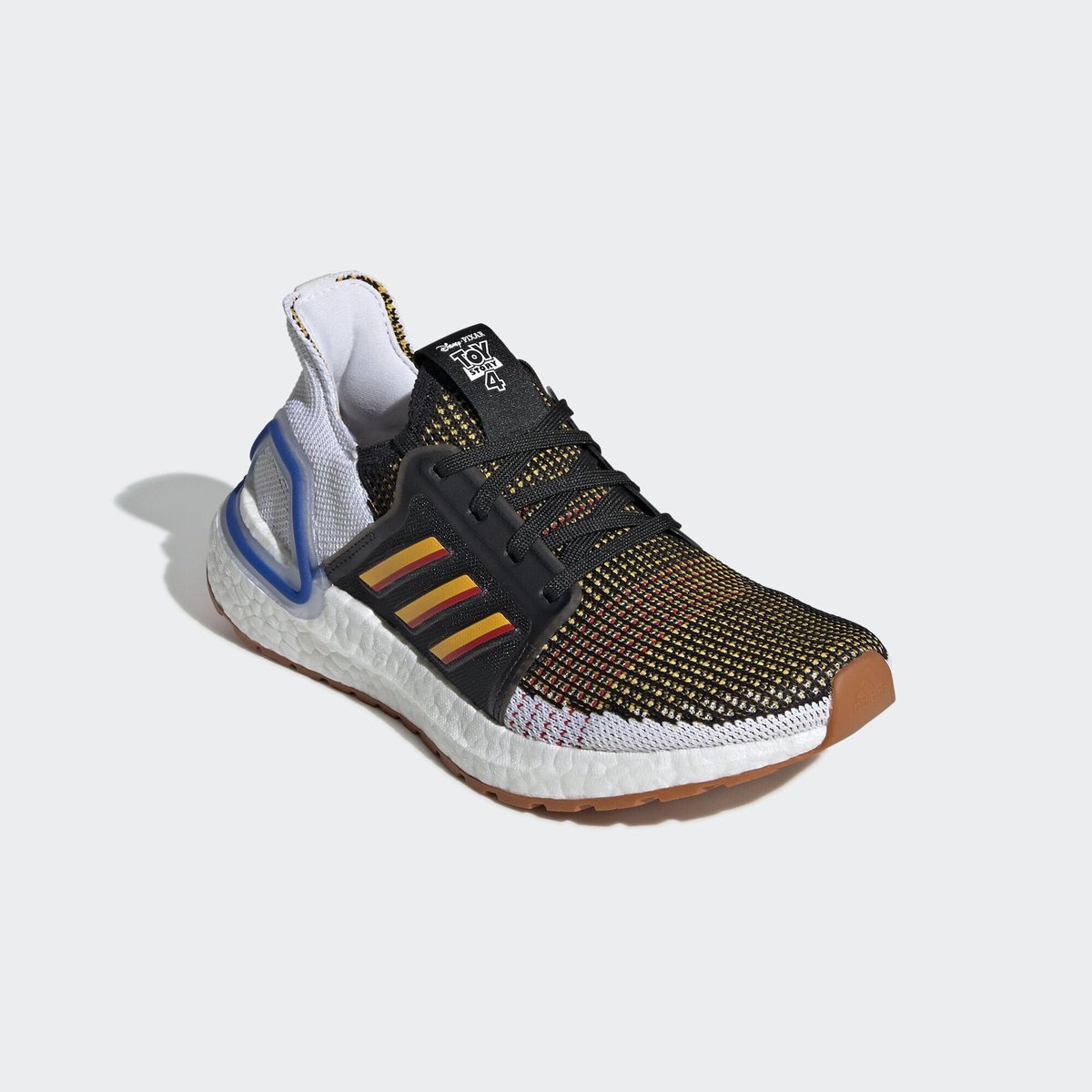 """An early look at the Adidas Ultra Boost 19 """"Toy Story 4"""" rumored to drop June 21 in kids sizing."""