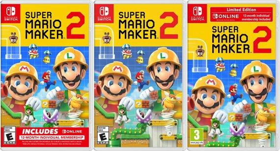 "Wario64 on Twitter: ""Super Mario Maker 2 online bundle US box art has the  banner on the bottom versus EU's banner on top… """