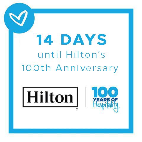 14 DAYS TO GO #HILTON100  @hiltonnewsroom @Hiltonhotels @Hiltonhonors #WeAreHilton #WeAreHospitality #hilton #hotel #HiltonHistory https://t.co/OA82EV17qz