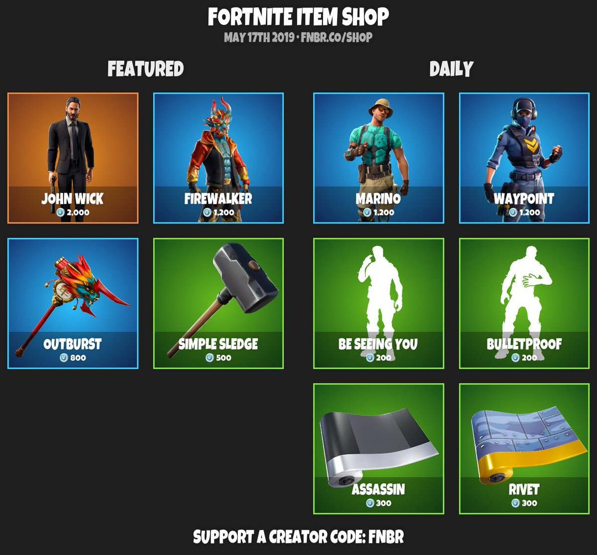 fortnite item shop for may 17th 2019 https fnbr co shop use creator code fnbr if you d like to support us pic twitter com 7cvhlcdlec - tienda fortnite hoy avengers