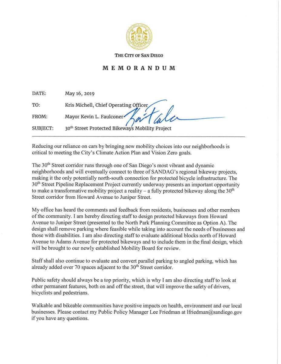 Thank you, Mayor @Kevin_Faulconer, and thank you CM @ChrisWardD3, @TylerRenner6 and Everett Hauser for engaging with the community and building support for putting safety and climate action first! This is one step toward a citywide connected network of protected bikeways. 🚲💯👍