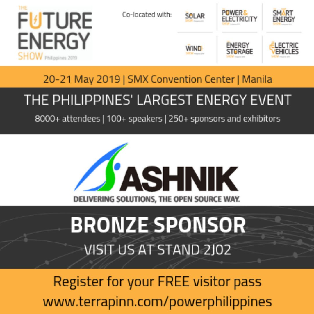@Ashnikbiz along with @existglobal & @EnterpriseDB is a bronze sponsor at The Future Energy Show, #Philippines. Come and visit us at Booth 2J 02 on 20th & 21st May 2019 at Schedule your meeting at https://t.co/jt8f0rgYKU https://t.co/wEUDcd8sza