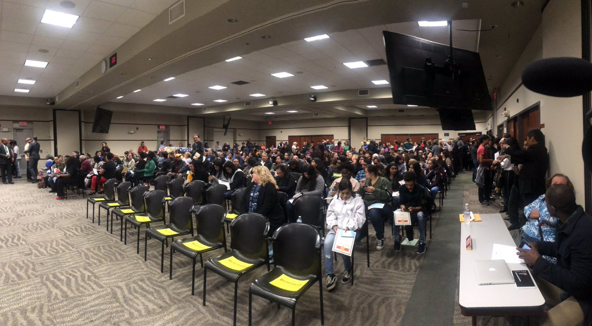 I'm at the @officialSCUSD budget meeting. There are more than 70 people signed up for public comment. Students from John F Kennedy High School are getting emotional as they ask the board to please not cut their music program. #LateNewsTonight @ABC10