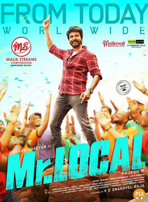 Announcing the arrival of #MrLocal today May 17th! Don't miss the epic combo of #Sivakarthikeyan & #Nayanthara in cinemas near you from today. Get ready to celebrate! . #sivakarthikeyan #sk #nayanthara #ladysuperstar #malikstreams #msc #hiphoptamizha #rajeshm #siva #nayan