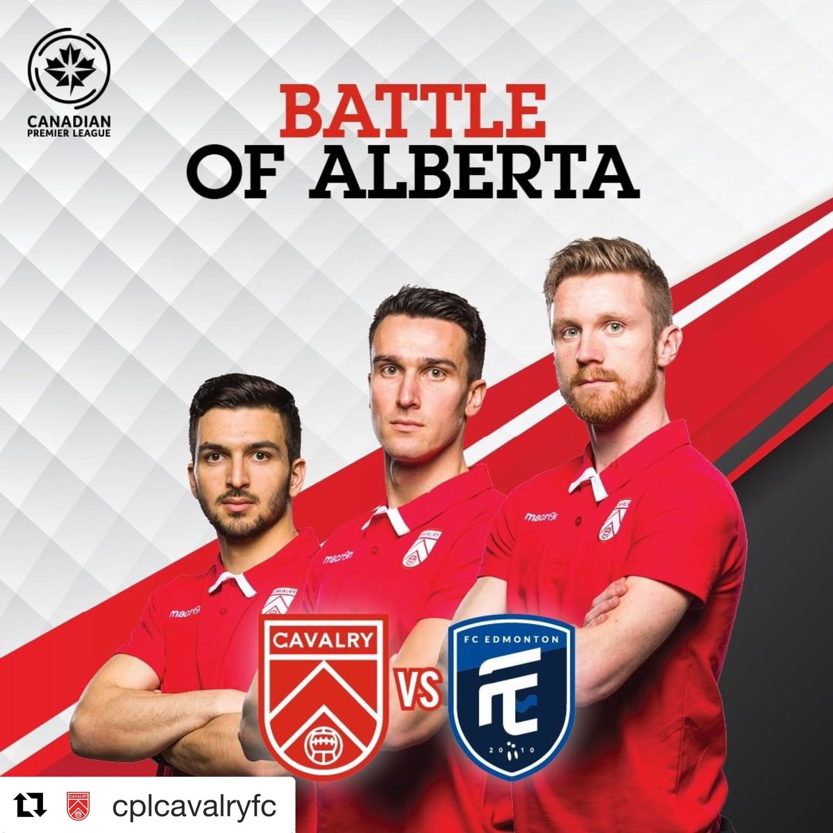 """BATTLE OF ALBERTA """"Al Classico"""" vs @fcedmontonnow  This Saturday, 4 p.m. at ATCO Field at @spruce_meadows ⚽🥅   Game day tickets available at  🎫:  https://bit.ly/2JGdX4K  #RideWithUs #CavsFC #CavalryFC #CPL #SpruceMeadows"""