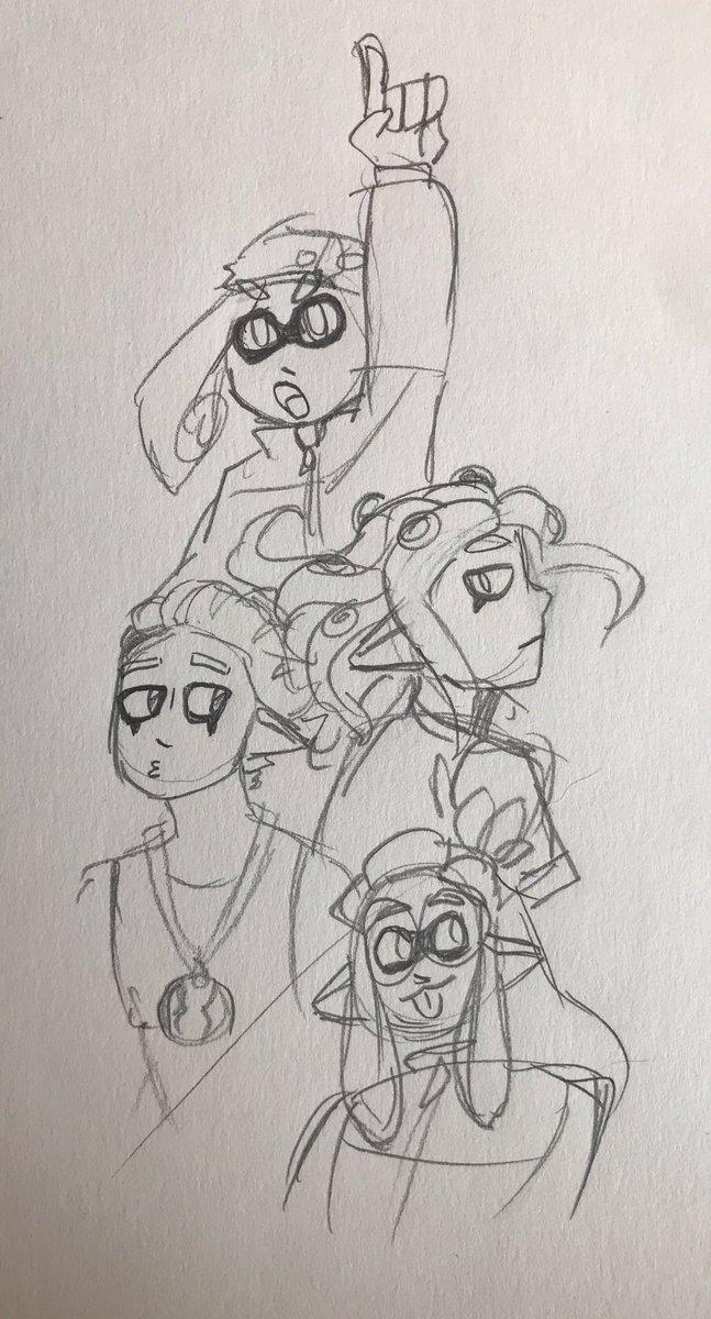 A sketch of me and my bfs squid ocs! Top to bottom: Co, Stick, Idol, and Glasses #Splatoon #squidoc #splatoon2 #myOCspic.twitter.com/QbFhkMHPqF