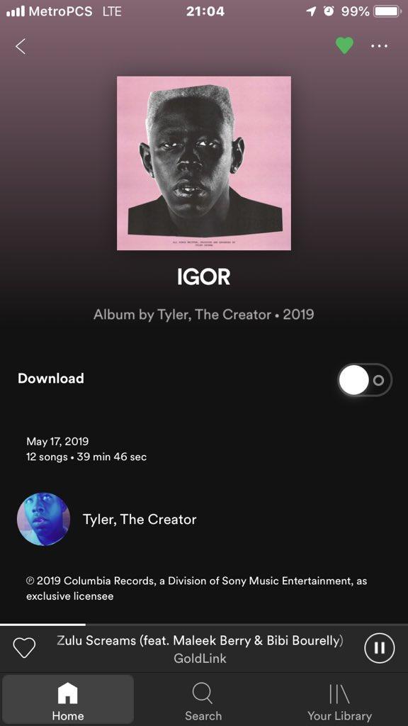 Att On Twitter Everyone Going On Spotify N Apple Music To Stream Tyler The Creator S Igor