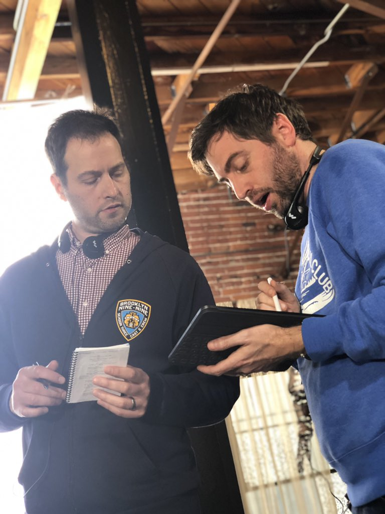 BTS: writing jokes is serious business as illustrated by @djgoor & @ldeltredici #Brooklyn99finale #Brooklyn99