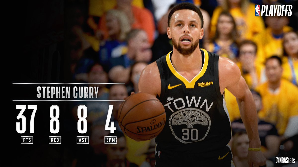 Steph Curry drops 37 PTS, 8 REB, 8 AST in Game 2 to help lead the @warriors to a 2-0 series lead in the Western Conference Finals! #SAPStatLineOfTheNight <br>http://pic.twitter.com/C8DyCzkWMP