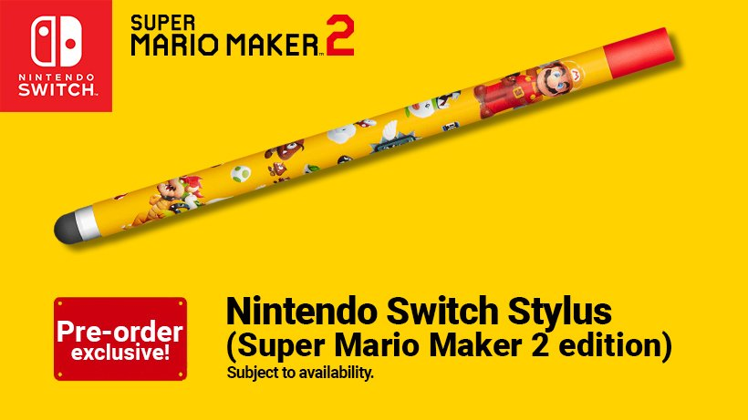 Perfect for creating great courses in #SuperMarioMaker2: you can get a #NintendoSwitch stylus (#SuperMarioMaker2 edition) as a bonus when you pre-order #SuperMarioMaker2 from the #NintendoUKStore. Retweet to be in with a chance of winning one! Info: bit.ly/30qcLYZ