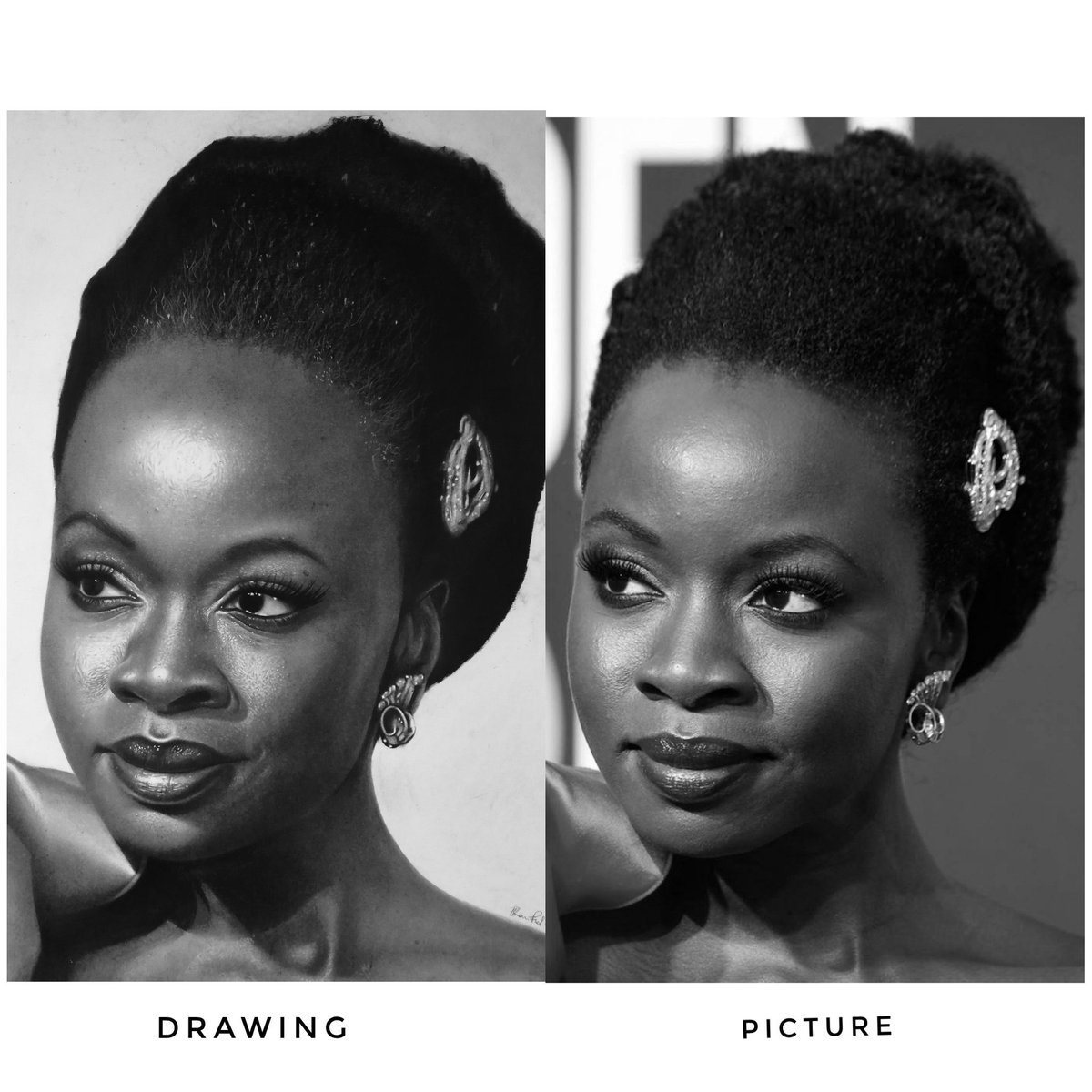 Here&#39;s a side by side comparison of @DanaiGurira potrait and the reference.. I know its not exact, but given the little time I had l think l did some justice.. Wat are your thoughts?  PLEASE RETWEET  #wearenigeriancreatives #Zimbabwe #avengersendgame  #lupitanyongo #BlackPanther  <br>http://pic.twitter.com/w3pFi2E1DQ