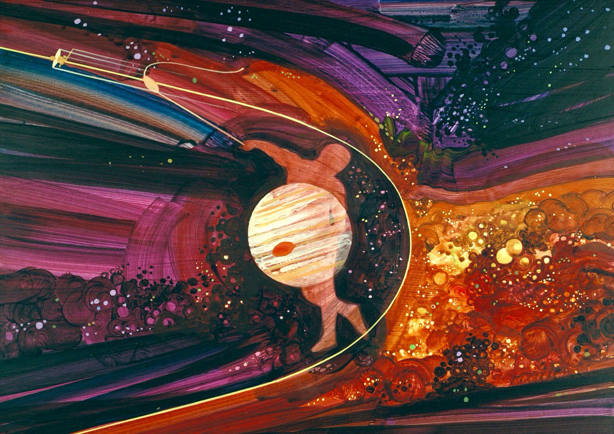1973 NASA art by Rick Guidice visualizes the idea of a Pioneer probe using Jupiter's gravity to slingshot itself toward the outer planets and beyond.