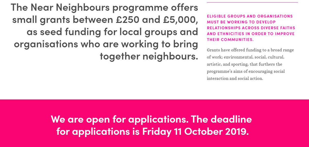 Applications for the @nearneighbours small grants programme are now open. The deadline for applications is Friday 11 October 2019.  For more information: https://www.near-neighbours.org.uk/small-grants