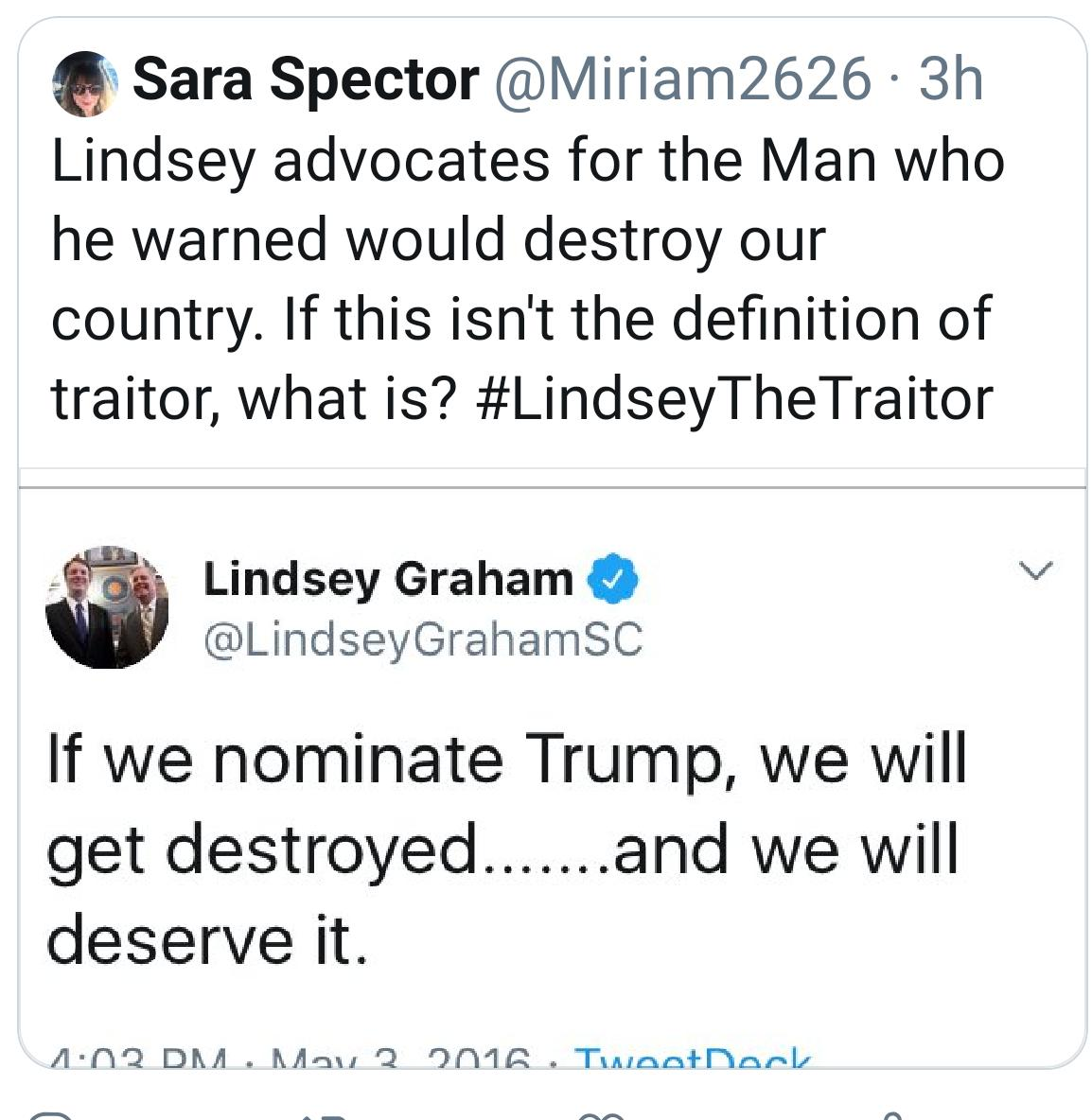 You're having quite the week, @LindseyGrahamSC!  First it was #LindseyGrahamResign then  #LindseyGrahamObstructed then #LindseyTheLapdog and now #LindseyTheTraitor. All fitting.  I'm wondering: will we hear your hypocritical drawl on that Michael Flynn's voicemail? Hmm?<br>http://pic.twitter.com/YaG4orH2LM