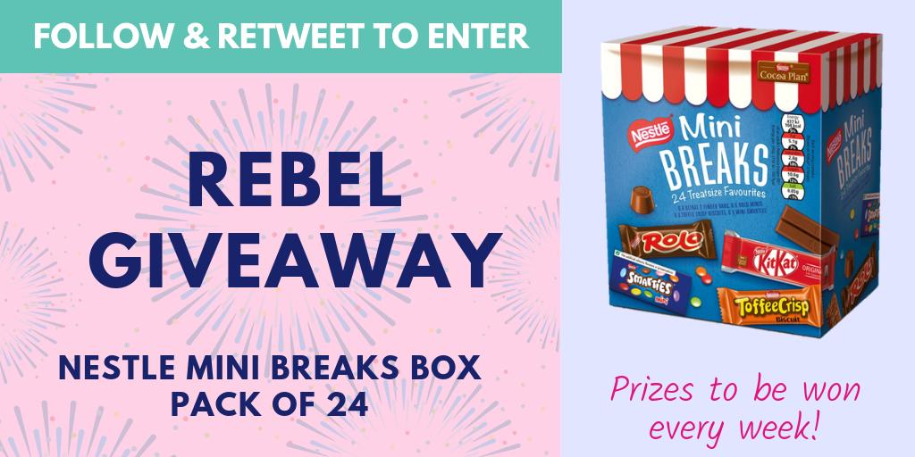 It&#39;s giveaway time!! #Follow &amp; #RT to enter our #giveaway and #win this sweet box of Nestle Mini Breaks. UK &amp; Ireland only. Winner announced Monday! #Competition #FreebieFriday #Giveaway #comp #Rebel<br>http://pic.twitter.com/fIYPO18hzA