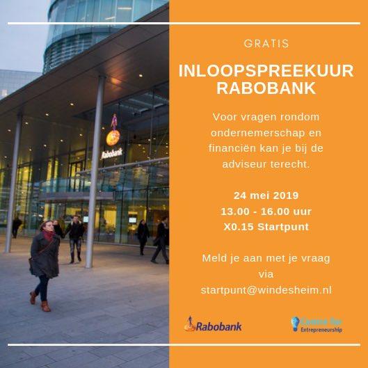 Kansen benutten @Windesheiminfo #studentondernemers  welkom bij @RaboIJsseldelta #inloopspreekuur voor #startups in #X0.15 op 24 mei