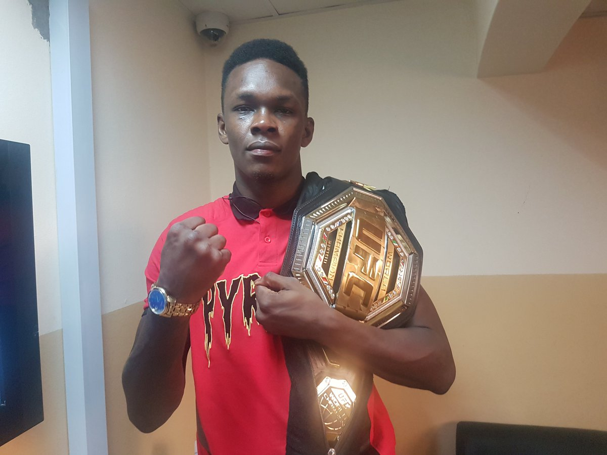 The champ is here!  UFC middleweight champ, Israel Adesanya is our special guest on Sports this Morning.   Do you have questions for him?   #ufc236 #Naija #champion
