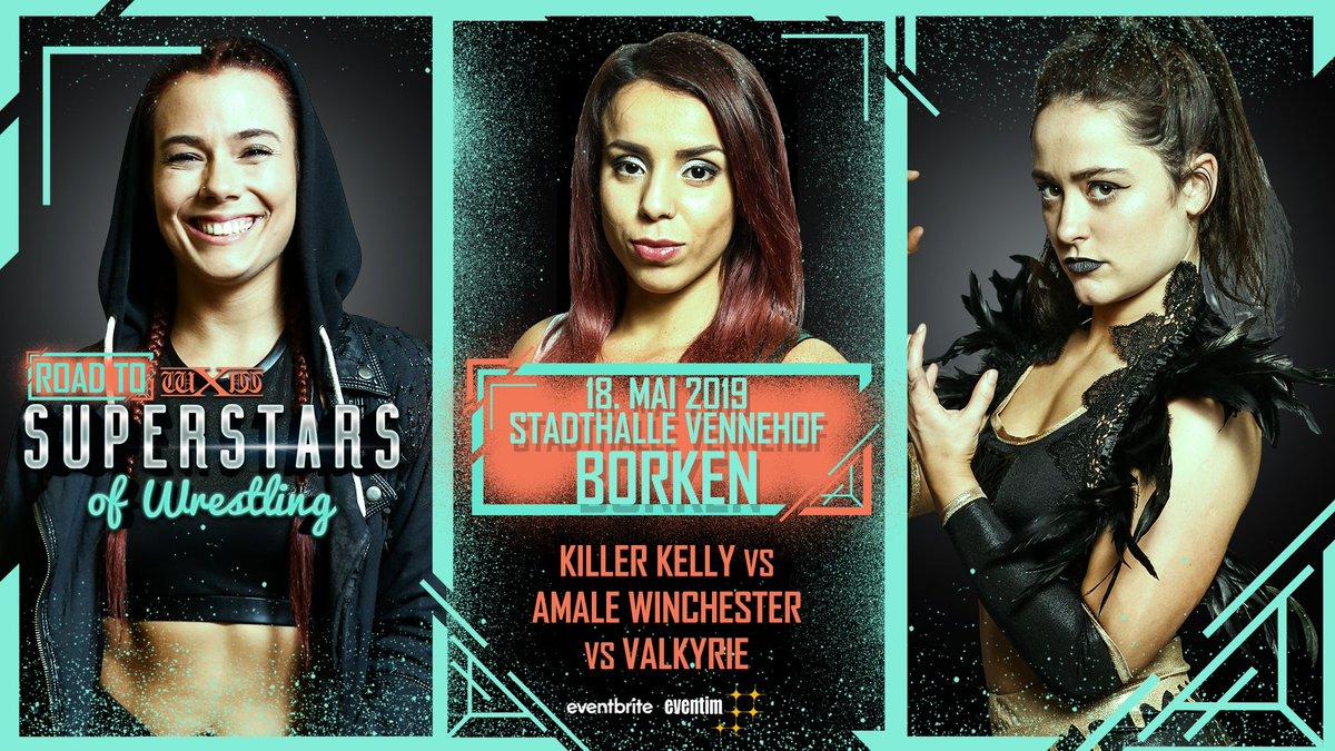 Huge 3-way-dance TOMORROW at #wXwRoadtoSoW in Borken! @NXTUK Superstar @Kelly_WP vs. @AmaleWinchester vs. @Real_Valkyrie. Tickets: https://www.eventbrite.de/e/wxw-wrestling-road-to-superstars-of-wrestling-2019-borken-tickets-50639219268…
