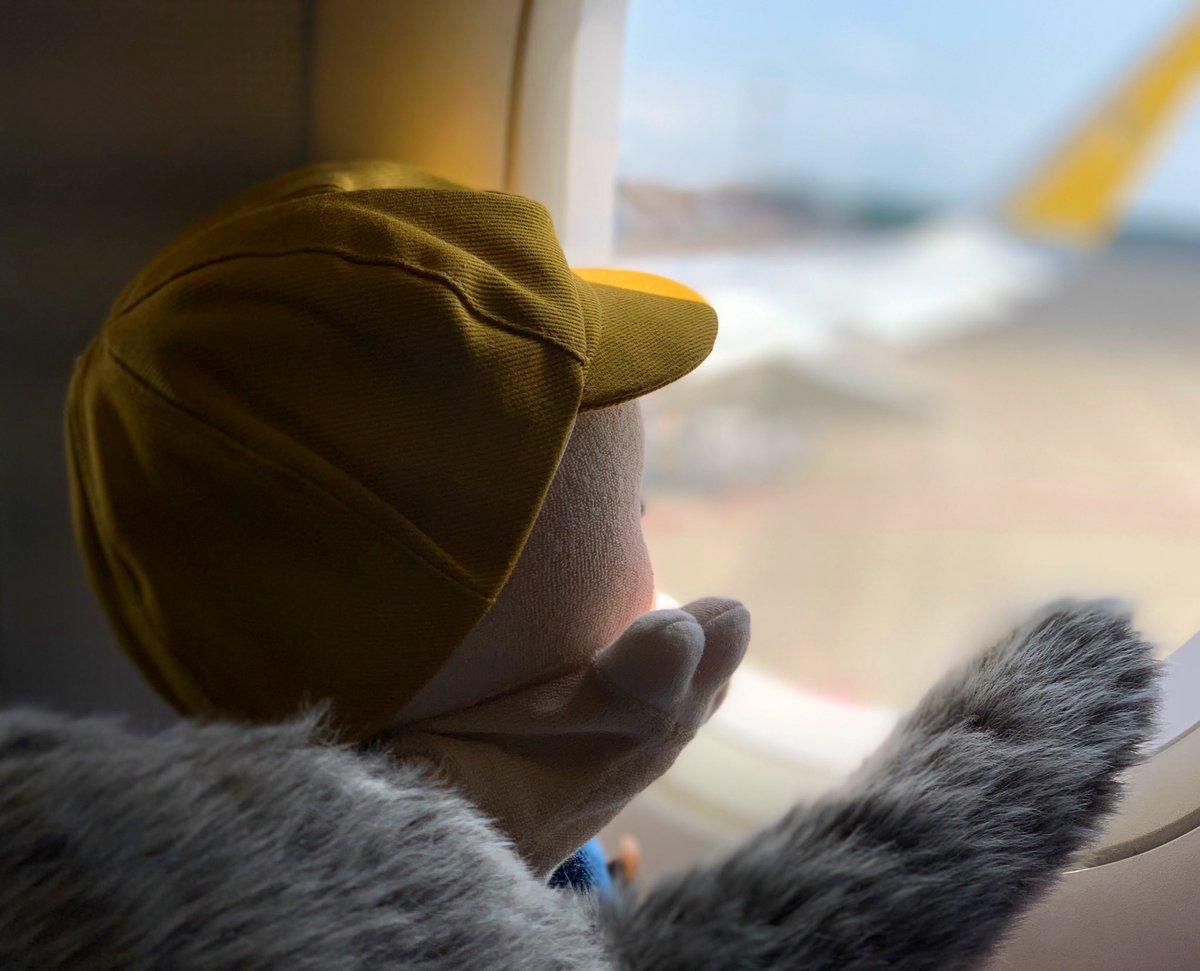 はじめての飛行機ドキドキした…! Qooboと一緒に保安検査の検査装置も通ったんだよ😳 窓から色んな飛行機が見れて、かっこよかったなー✈️✨  今日は沖縄合宿2日目だよ!🙆♀️ by くぅ坊