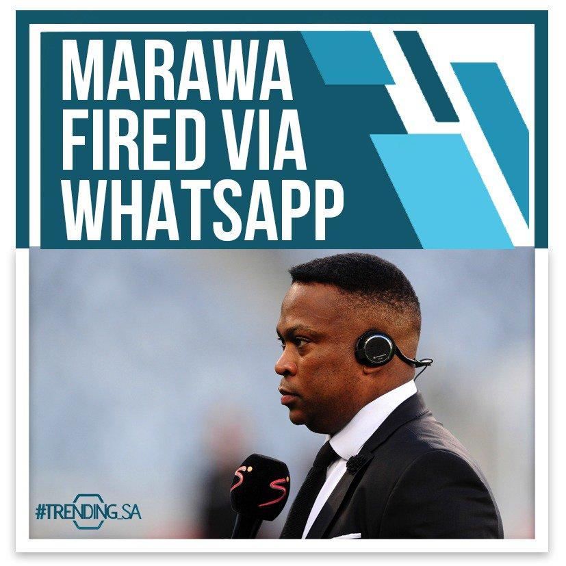 Marawa fired via WhatsApp 👀 Full story here 👉trendingsa.tv/2019/05/17/mar… #TSAon3 #TSAonline