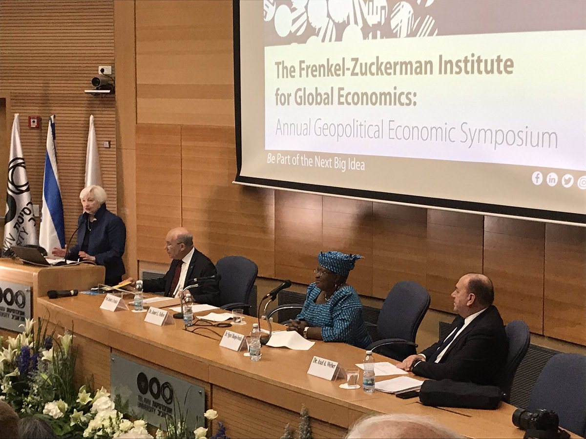 Dr. Janet Yellen, Former Chair, US Federal Reserve on the current American economy at the Annual Geopolitical Economic Symposium at @TelAvivUni