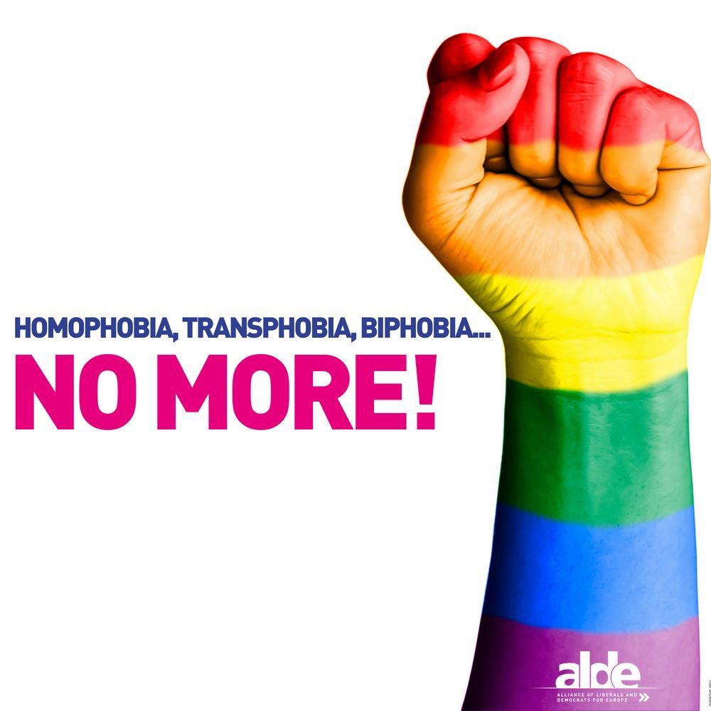 NO MORE HATE: that's our message on this International Day Against Homophobia, Transphobia and Biphobia. We will continue to fight for #equality & strong anti-discrimination laws across Europe for LGBTIQ people! #ALDE4Equality #IDAHOBIT