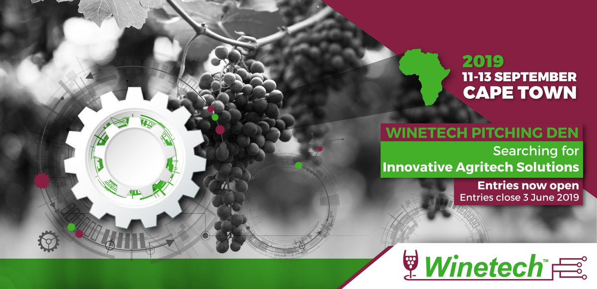 Get your innovative #Agritech ideas fund &gt;&gt; incubated &gt;&gt; accelerated. Enter the 2019 #Winetech Pitching Den - we&#39;re looking for innovative solutions to challenges facing the #wineindustry  https:// innovationsummit.co.za/winetech-pitch ing-den/ &nbsp; …   #agtech @WinetechSA @innovsummit<br>http://pic.twitter.com/0qjQ8vTSzB