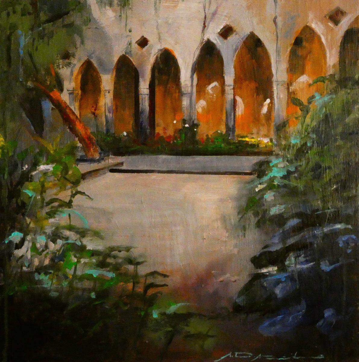"""""""CLAUSTRO SORRENTINO"""" Mixta sobre tabla, 40x40 cm. 2019  (Colección del autor) #painting #Sorrento #Campania"""