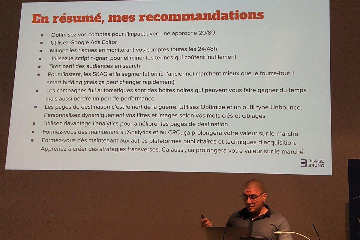 Les recommandations de Blaise Bruno à @PerformanceWeb_ - Gérer efficacement vos comptes Google Ads : méthodes, outils, cas d'études #PWGE