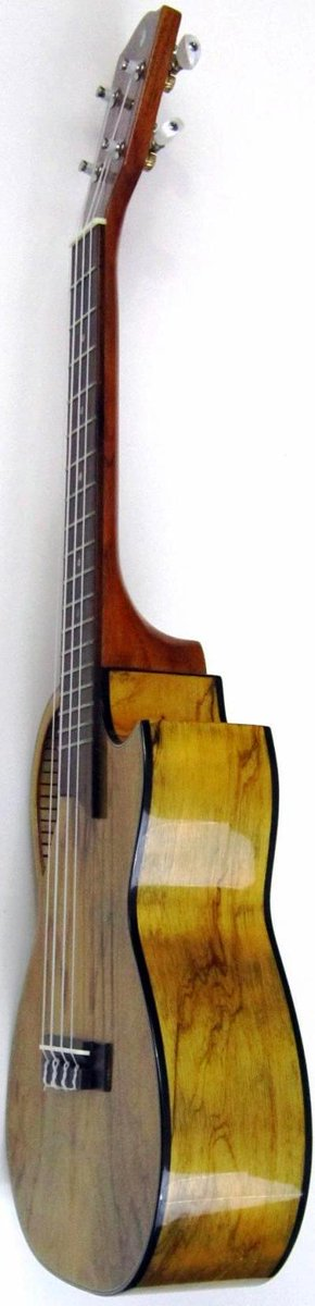chinese made concert ukulele with epaulette sound hole and juniper veneer