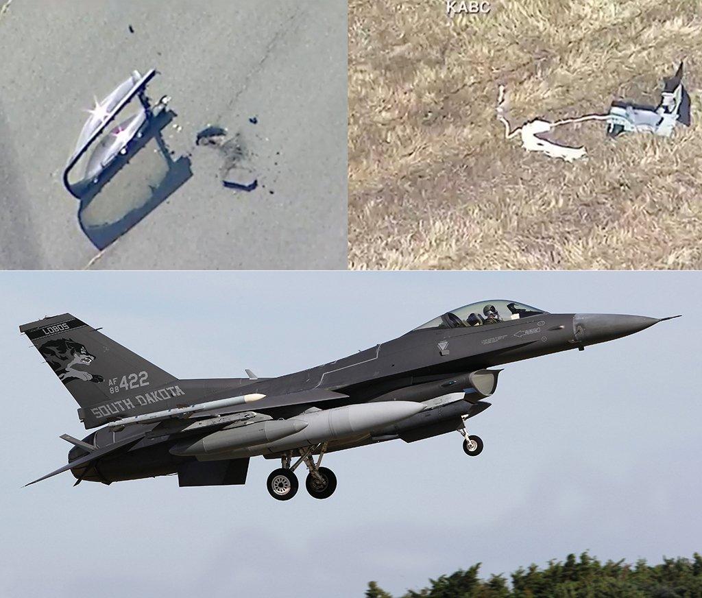 تحطم مقاتلة إف 16 أميركية في مبنى تجاري في ولاية كاليفورنيا D6wypHkW4AMI-Ml