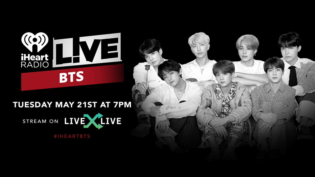 We have BIG news! We're excited to announce that on Tuesday May 21st we will be LIVE with @iHeartRadio! You will be able to watch it at 7pm ET on @livexlive! #iHeartBTS