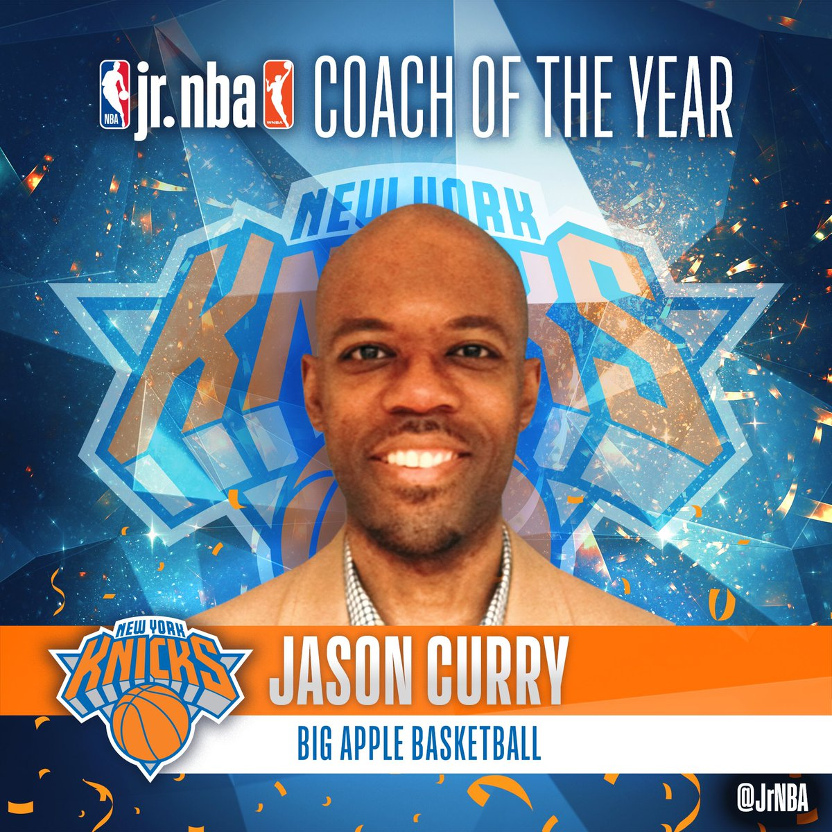 Congratulations to Jason Curry from the New York Knicks for winning the Jr. NBA Coach of the Award! #JrNBACOY https://t.co/o5cwpmIUbb